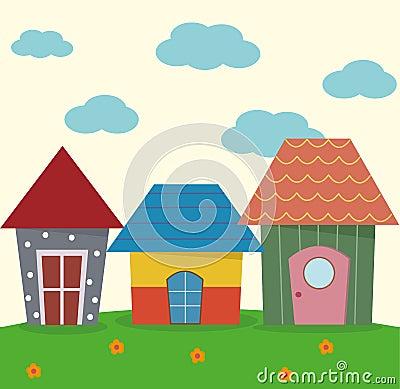 Cute three house Stock Photo