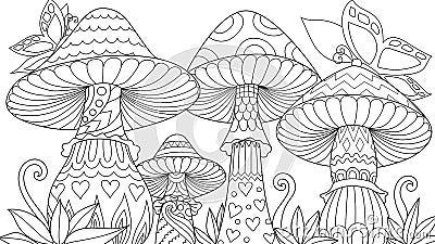 Cute three mushroom Vector Illustration