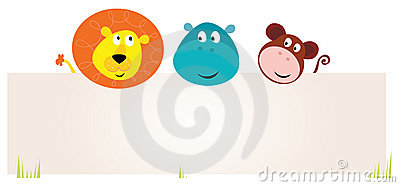 Cute three safari animals holding blank sign