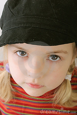 Cute toddler in black hat