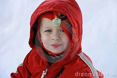 Cute Toddler boy in the snow