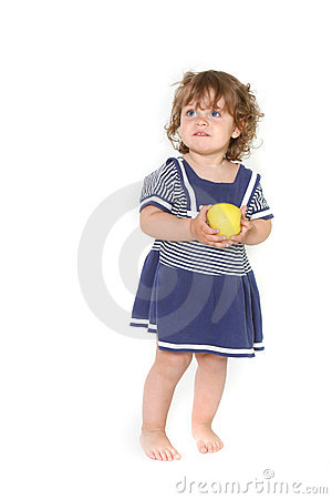 Free Cute Toddler Girl With Green Apple Stock Photo - 13862390