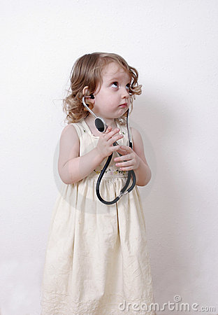 Cute toddler with a stethoscope