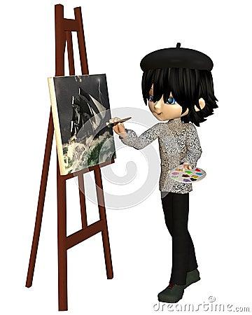 Cute Toon Artist Boy