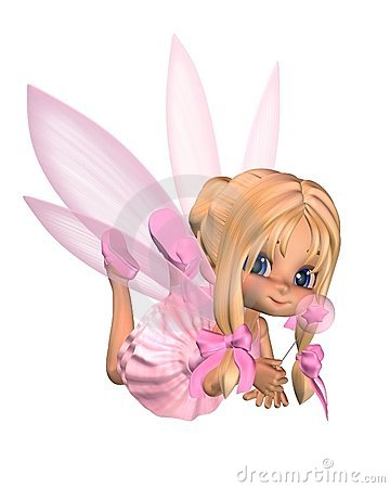 Free Cute Toon Ballerina Fairy In Pink - Lounging Stock Images - 14254644