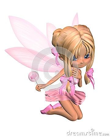 Cute Toon Ballerina Fairy in Pink - kneeling