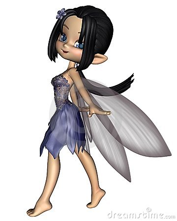 Cute Toon Fairy in Blue Flower Dress