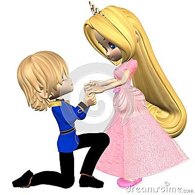 Cute Toon Fairytale Prince and Princess
