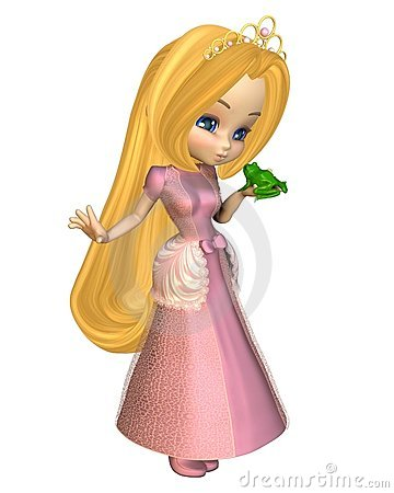 Cute Toon Fairytale Princess Kissing a Frog