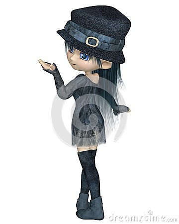Cute Toon Girl with a Blue Hat - Turning