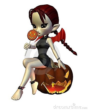 Cute Toon Halloween Devil and Pumpkin