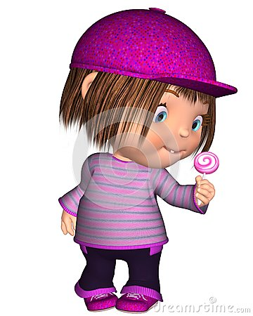 Cute Toon Kid Standing with Pink Lollipop