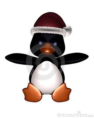 Cute Toon Penguin with Christmas Hat