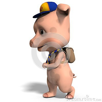 Cute toon pig as a boy scout
