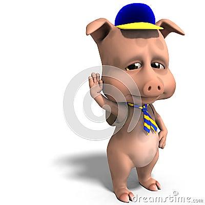 Cute toon pig as a boy scout