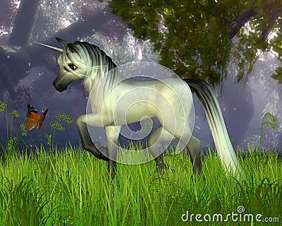 Cute Toon Unicorn with Woodland Background
