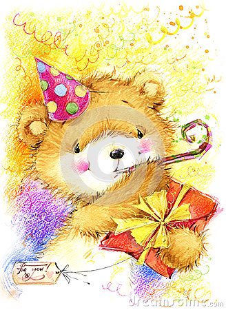 Cute Toy Teddy Bear And Birthday Card Background Royalty Free