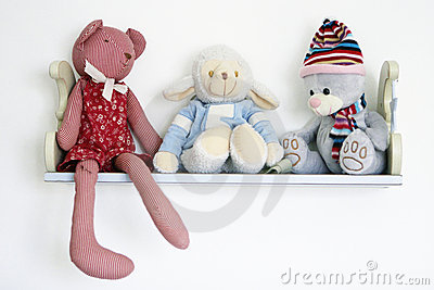 Cute toys on shelf
