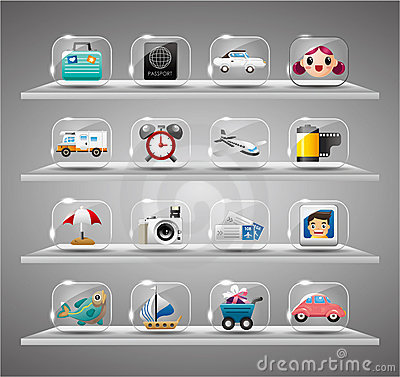 Cute travel icons collection,Transparent glass but