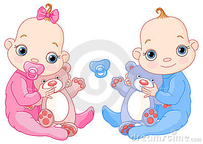 Cute twins with toys