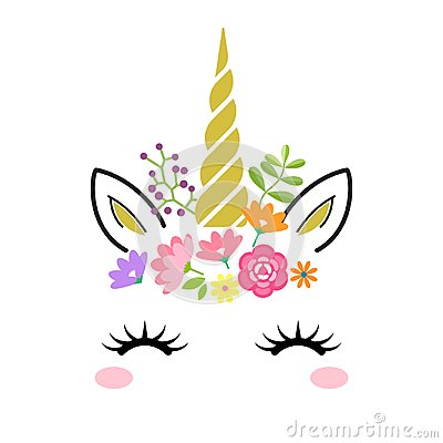 Cute unicorn face with gold horn and flowers isolated on white background. Vector cartoon character illustration. Vector Illustration