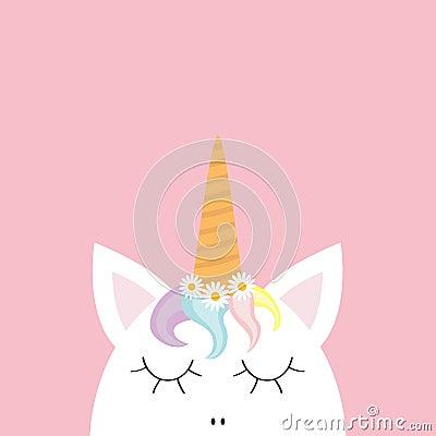 Free Cute Unicorn Head Face. Rainbow Hair, White Daisy Chamomile Flower Set. Flat Lay Design. Pastel Color. Cute Cartoon Kawaii Baby Ch Stock Photo - 108709350