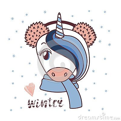 Free Cute Unicorn In Warm Earmuffs Stock Photo - 102871240