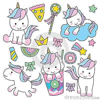 Free Cute Unicorn Set Stock Image - 96593381