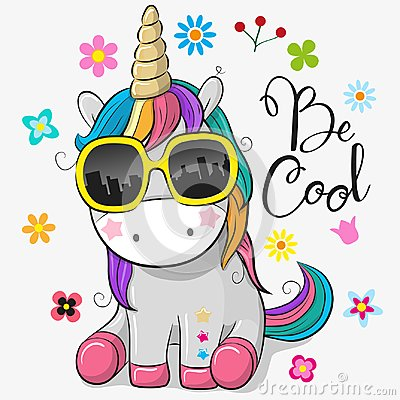 Cute unicorn with sun glasses Vector Illustration