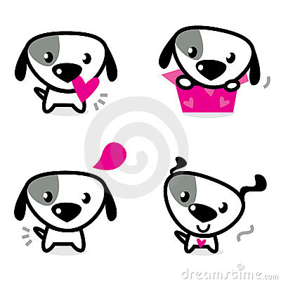 Cute valentine dogs set
