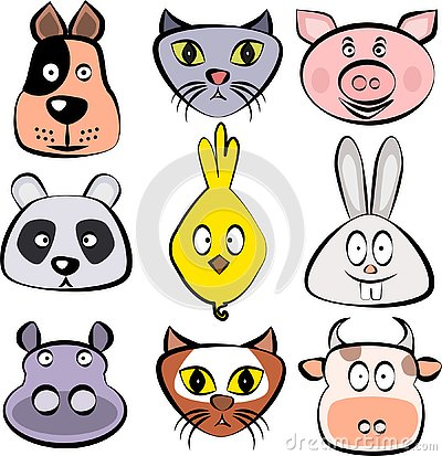 Cute animals set. Dog, cat, pig, panda bear, chick, bunny rabbit, hippopotamus, fox, cow faces. Vector template ready for p Stock Photo