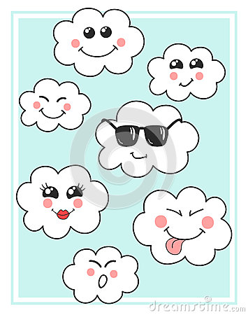 Cute Vector Clouds Icons  Clouds Cute Emoji, Emoticons Faces