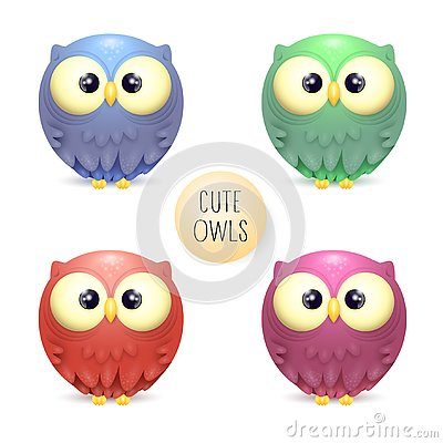 Cute vector collection of bright multicolor owls Stock Photo