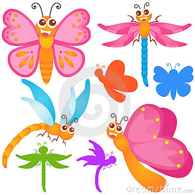 Cute vector Icons : Butterfly, dragonfly