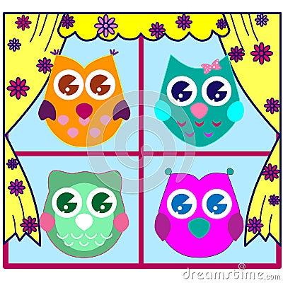 Cute Vector Owls Stock Photo