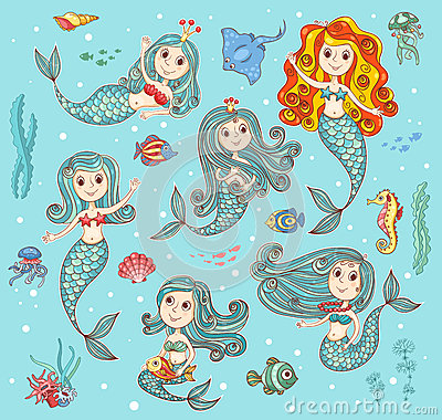 Free Cute Vector Set With Mermaids Royalty Free Stock Images - 50531829