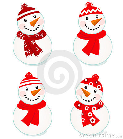 Cute vector snowmen collection
