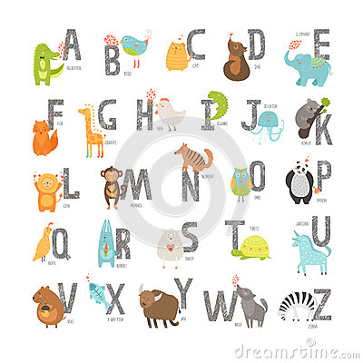 Free Cute Vector Zoo Alphabet Royalty Free Stock Photos - 49750848