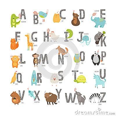 Cute vector zoo alphabet Vector Illustration