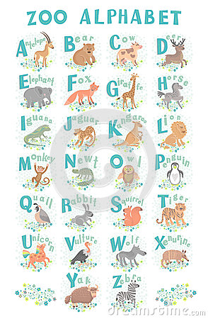 Cute vector zoo alphabet. Funny cartoon animals. Letters. Learn to read. Vector Illustration