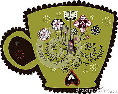 Cute vintage cup design