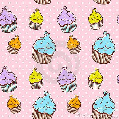 Cute vintage cupcake seamless texture
