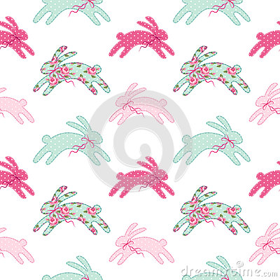 Free Cute Vintage Easter Seamless Pattern With Bunnies As Retro Fabric Patch Applique In Shabby Chic Style Royalty Free Stock Photo - 89950085