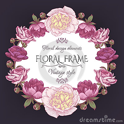 Free Cute Vintage Floral Card With A Frame Of Peonies And Persian Buttercup. Beautiful Wreath In Shabby Chic Style. Royalty Free Stock Photo - 60346435