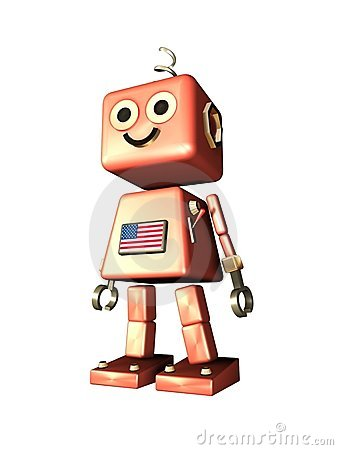 Cute vintage robot - Robi Gold with USA flag