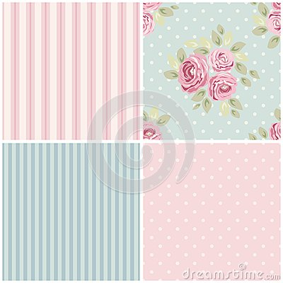 Free Cute Vintage Seamless Shabby Chic Floral Patterns For Your Decoration Royalty Free Stock Image - 106944326