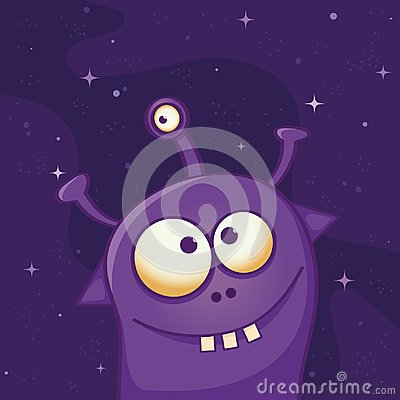 Free Cute Violet Alien With Three Eyes And Three Teeth - Funny Cartoon Illustration Stock Photography - 111642272