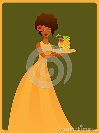 Cute waitress girl with pineapple drink