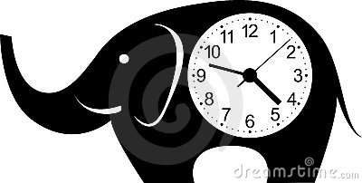 Cute wall clock elephant sticker.