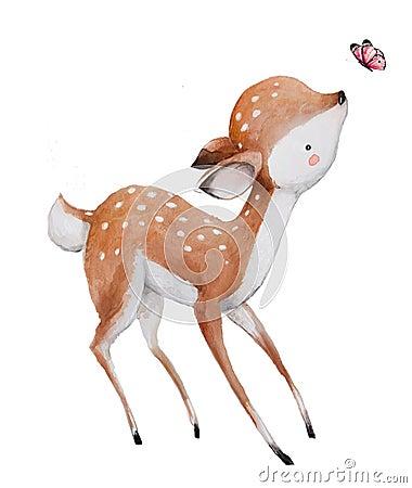 Free Cute Watercolor Deer Royalty Free Stock Images - 91861929